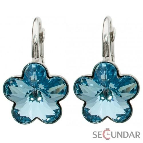 Cercei Argint 925 cu SWAROVSKI ELEMENTS Flower Fancy 10 mm Aquamarine