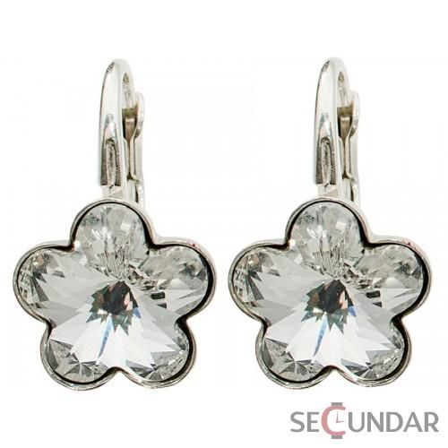 Cercei Argint 925 cu SWAROVSKI ELEMENTS Flower Fancy 10 mm Crystal Clear