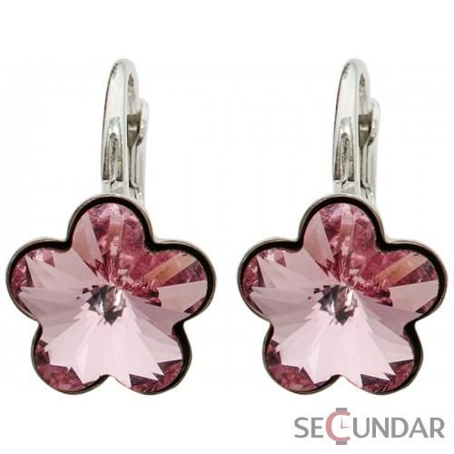 Cercei Argint 925 cu SWAROVSKI ELEMENTS Flower Fancy 10 mm Lt. Rose