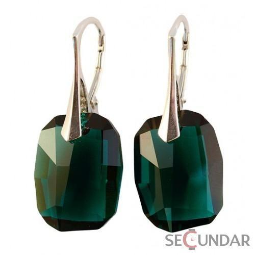 Cercei Argint 925 cu SWAROVSKI ELEMENTS Graphic 19mm Emerald