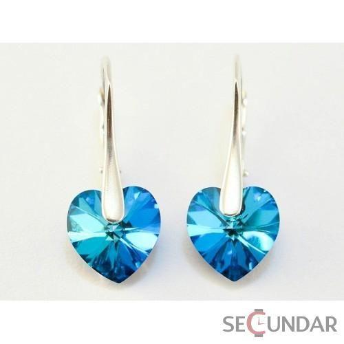 Cercei Argint 925 cu SWAROVSKI ELEMENTS Heart 10 mm Bermuda Blue