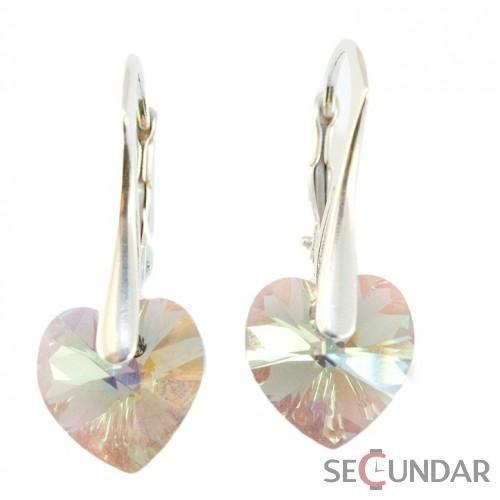 Cercei Argint 925 cu SWAROVSKI ELEMENTS Heart 10 mm Black Diamond AB