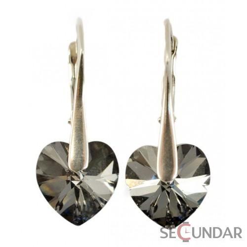 Cercei Argint 925 cu SWAROVSKI ELEMENTS Heart 10 mm Silver Night