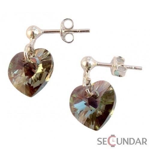 Cercei Argint 925 cu SWAROVSKI ELEMENTS Heart 10 mm surub Black Diamond AB