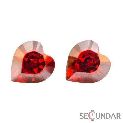 Cercei Argint 925 cu SWAROVSKI ELEMENTS Heart 9mm Red Magma