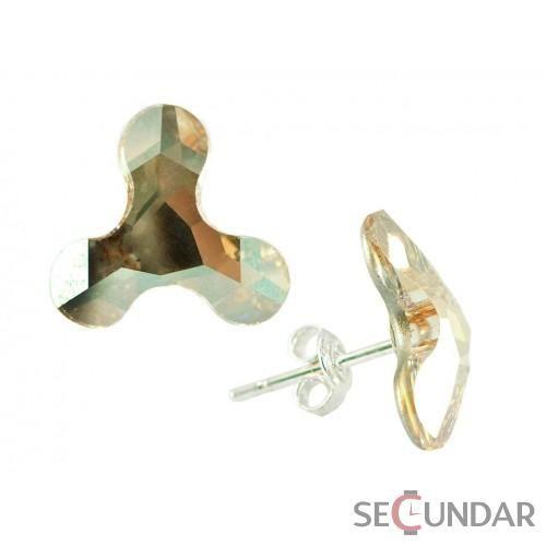 Cercei Argint 925 cu SWAROVSKI ELEMENTS Molecule 13mm Golden Shadow