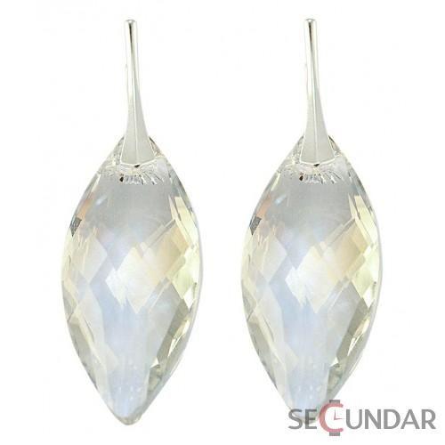 Cercei Argint 925 cu SWAROVSKI ELEMENTS Navete 30mm Crystal Clear