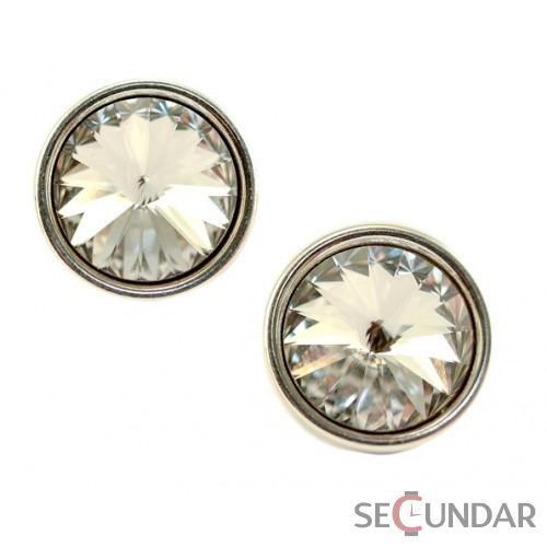 Cercei Argint 925 cu SWAROVSKI ELEMENTS Rivoli 12mm surub bz Crystal Clear