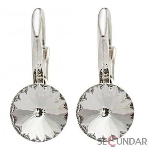 Cercei Argint 925 cu SWAROVSKI ELEMENTS Rivoli 6 mm Crystal Clear