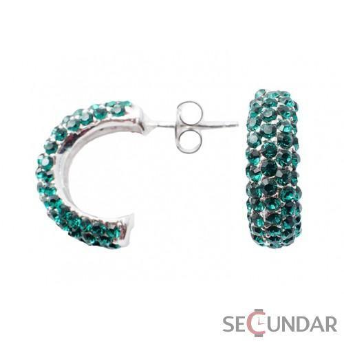 Cercei Argint 925 cu SWAROVSKI ELEMENTS Semi Moon Emerald