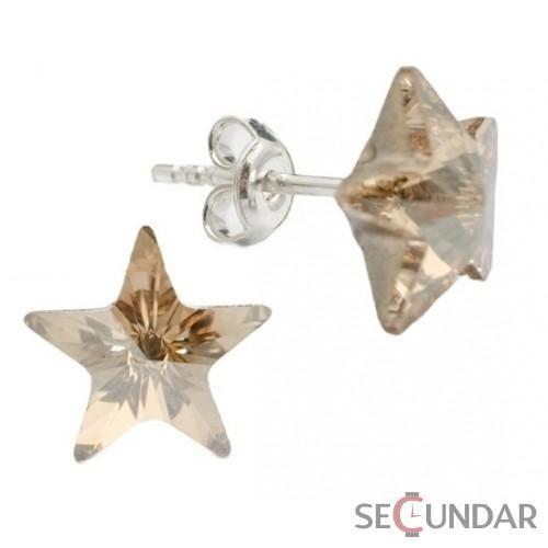 Cercei Argint 925 cu SWAROVSKI ELEMENTS Star 10mm Golden Shadow