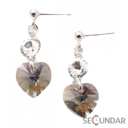 Cercei Argint 925 cu SWAROVSKI ELEMENTS Stud Clear Heart Black Diamond AB