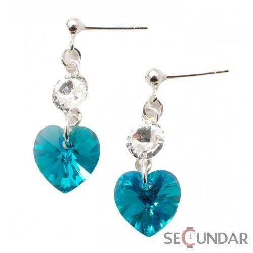 Cercei Argint 925 cu SWAROVSKI ELEMENTS Stud Clear Heart Blue Zircon AB