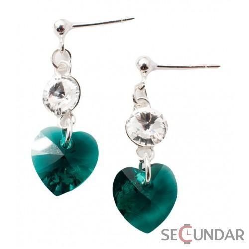 Cercei Argint 925 cu SWAROVSKI ELEMENTS Stud Clear Heart Emerald