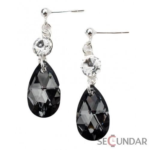 Cercei Argint 925 cu SWAROVSKI ELEMENTS Stud Clear Pear 16mm Silver Night