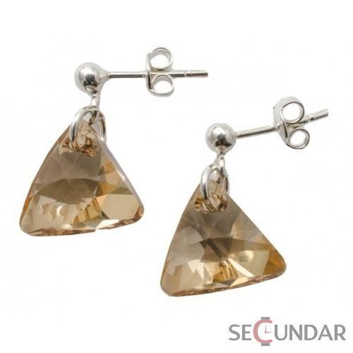 Cercei Argint 925 cu SWAROVSKI ELEMENTS Triangle 12 mm Golden Shadow