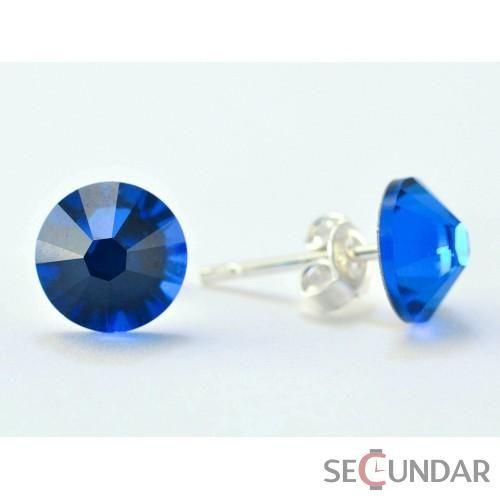 Cercei Argint 925 cu SWAROVSKI ELEMENTS Xilion 7 mm Blue Capri