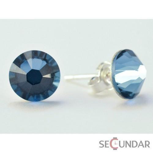 Cercei Argint 925 cu SWAROVSKI ELEMENTS Xilion 7mm Denim Blue