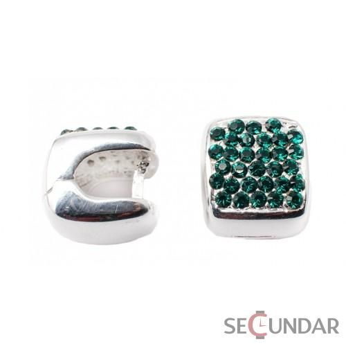 Cercei Argint 925 cu SWAROVSKI ELEMENTS Xirius Square Emerald