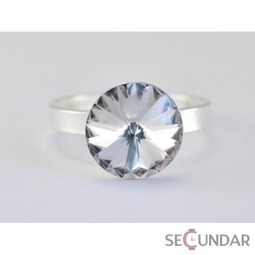 Inel Argint 925 cu SWAROVSKI ELEMENTS Rivoli 10.5 mm Crystal Clear