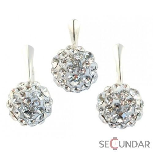 Set Argint 925 cu SWAROVSKI ELEMENTS Chaton Ball Crystal Clear