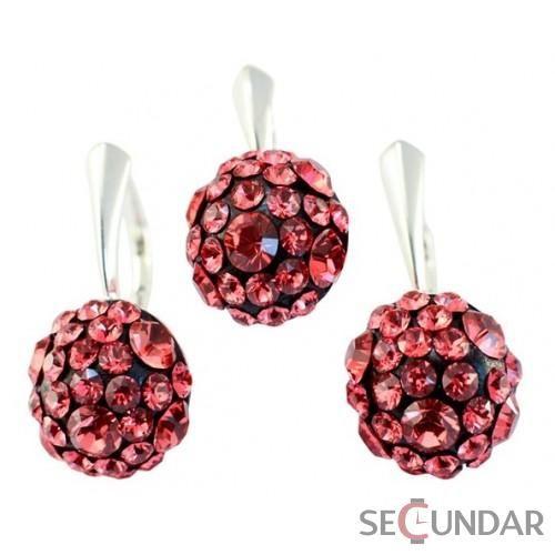 Set Argint 925 cu SWAROVSKI ELEMENTS Chaton Ball indian Pink