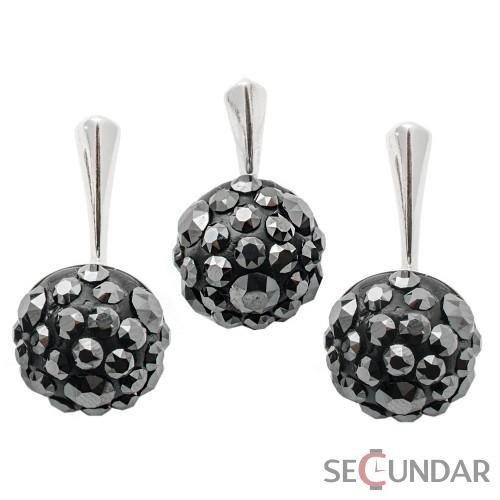 Set Argint 925 cu SWAROVSKI ELEMENTS Chaton Ball Jet Hematite
