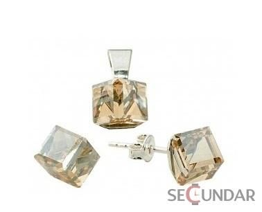 Set Argint 925 cu SWAROVSKI ELEMENTS Cubic 6 mm Golden Shadow