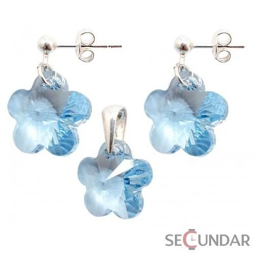 Set Argint 925 cu SWAROVSKI ELEMENTS Flower 14mm s. Aquamarine