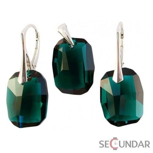 Set Argint 925 cu SWAROVSKI ELEMENTS Graphic 19mm Emerald