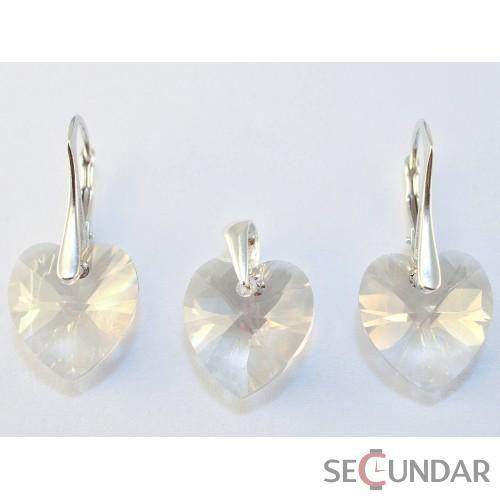 Set Argint 925 cu SWAROVSKI ELEMENTS Heart 10 mm Aurore Boreale