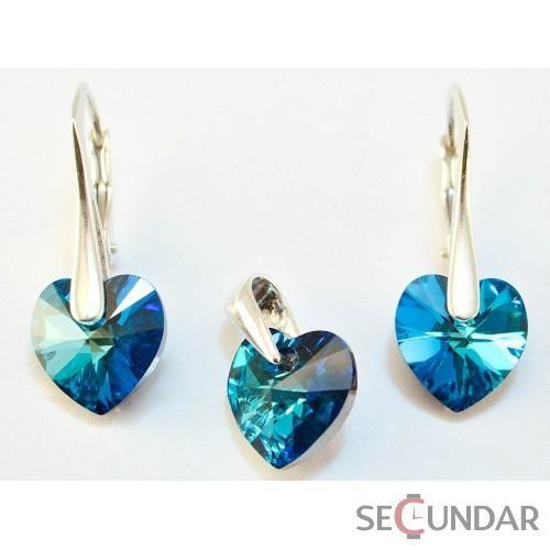 Set Argint 925 cu SWAROVSKI ELEMENTS Heart 10 mm Bermuda Blue