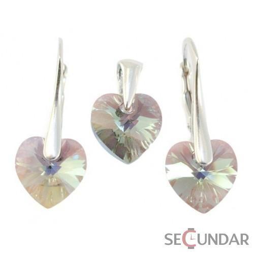 Set Argint 925 cu SWAROVSKI ELEMENTS Heart 10 mm Black Diamond AB