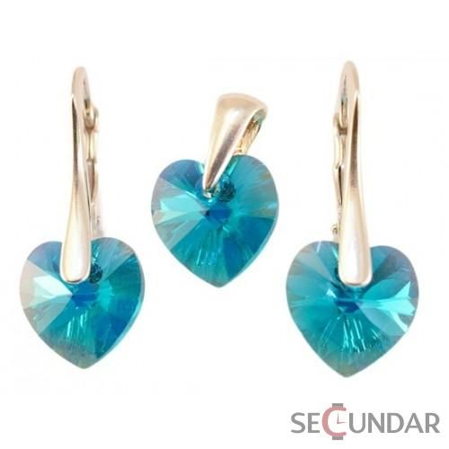 Set Argint 925 cu SWAROVSKI ELEMENTS Heart 10 mm Blue Zircon AB