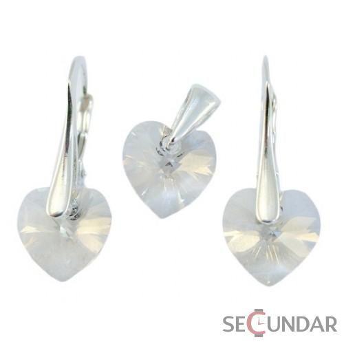 Set Argint 925 cu SWAROVSKI ELEMENTS Heart 10 mm Crystal Clear