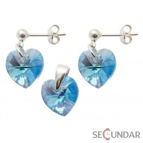 Set Argint 925 cu SWAROVSKI ELEMENTS Heart 10 mm surub Aquamarine AB