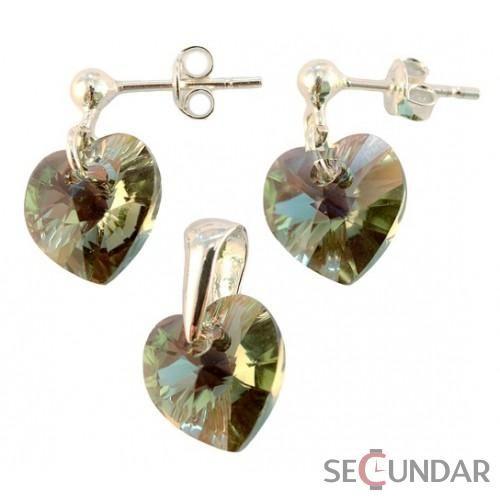 Set Argint 925 cu SWAROVSKI ELEMENTS Heart 10 mm surub Black Diamond AB