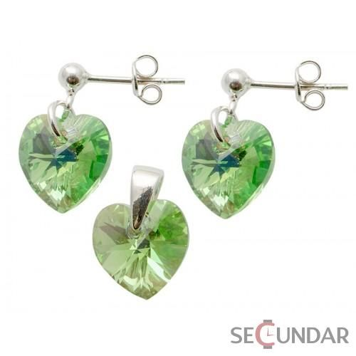 Set Argint 925 cu SWAROVSKI ELEMENTS Heart 10 mm surub Peridot AB