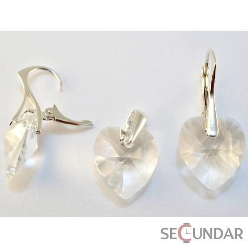 Set Argint 925 cu SWAROVSKI ELEMENTS Heart 14mm Silver Shade