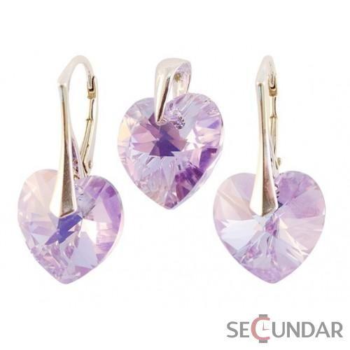 Set Argint 925 cu SWAROVSKI ELEMENTS Heart 14mm Violet AB