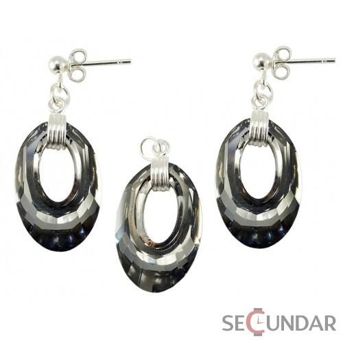 Set Argint 925 cu SWAROVSKI ELEMENTS Helios 20mm Silver Night