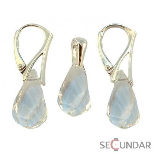 Set Argint 925 cu SWAROVSKI ELEMENTS Helix 18mm Crystal Clear