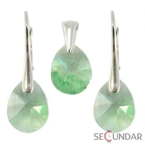 Set Argint 925 cu SWAROVSKI ELEMENTS MiniPear 12mm Peridot