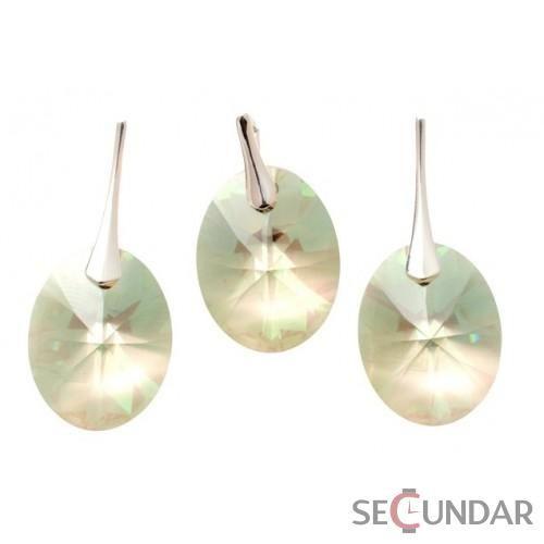 Set Argint 925 cu SWAROVSKI ELEMENTS Oval 18 mm Luminous Green