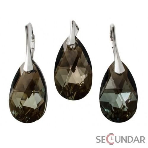 Set Argint 925 cu SWAROVSKI ELEMENTS Pear 22 mm Bronz Shade