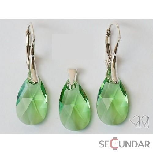 Set Argint 925 cu SWAROVSKI ELEMENTS Pear 22 mm Peridot