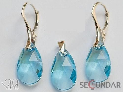 Set Argint 925 cu SWAROVSKI ELEMENTS Pear 22mm Aquamarine