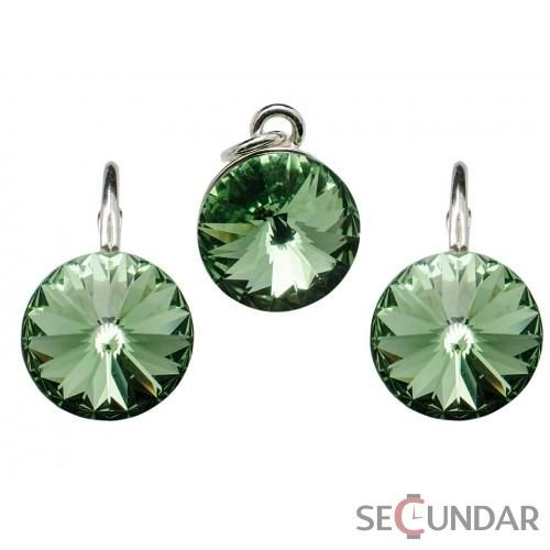 Set Argint 925 cu SWAROVSKI ELEMENTS Rivoli 10mm Chrysolite