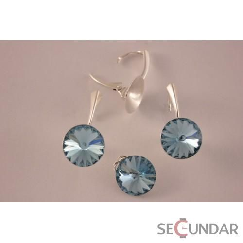 Set Argint 925 cu SWAROVSKI ELEMENTS Rivoli 12mm Aquamarine