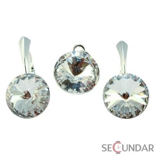 Set Argint 925 cu SWAROVSKI ELEMENTS Rivoli 12mm Crystal Clear